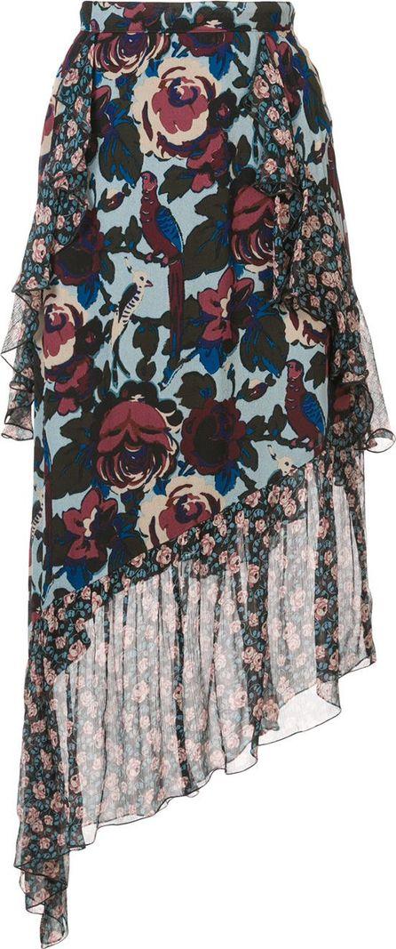 Anna Sui floral print asymmetric skirt