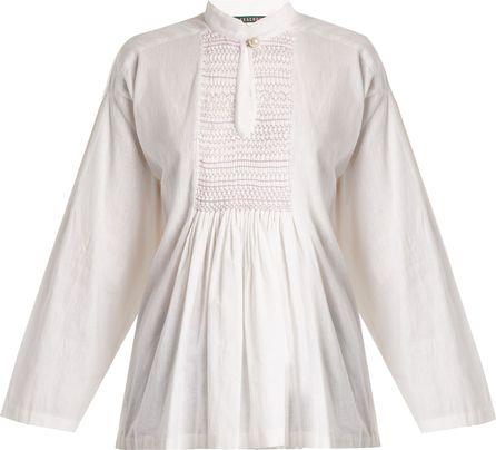 Alexachung Mandarin-collar smocked linen top