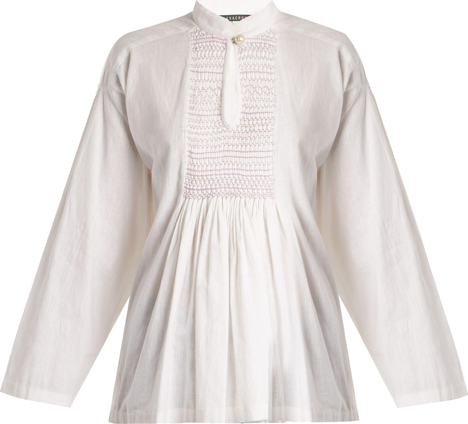 Alexachung - Mandarin-collar smocked linen top
