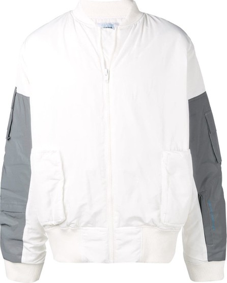 C2H4 Contrast sleeve bomber jacket