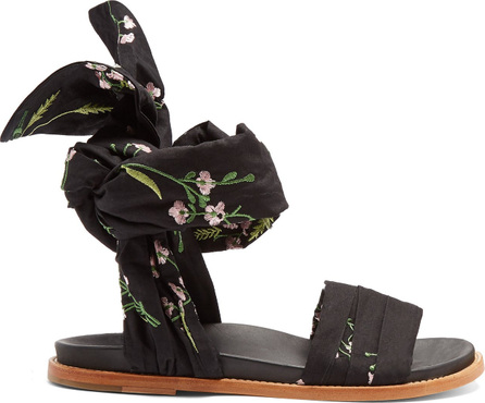 Marques'Almeida Floral-embroidered wrap sandals