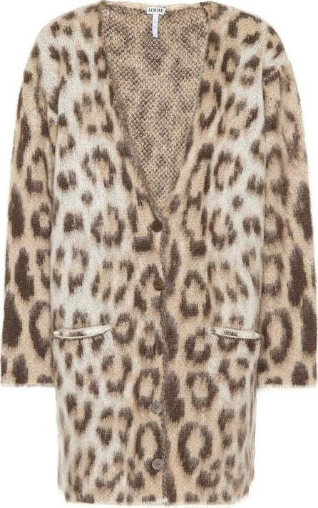 LOEWE Leopard mohair-blend cardigan