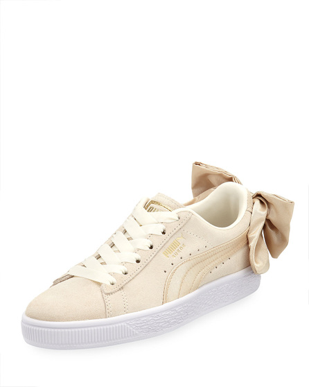 PUMA Varsity Suede Low-Top Sneakers with Bow Back, Marshmallow/Gold