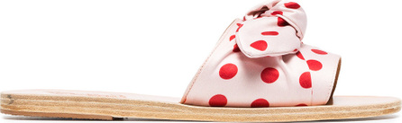 Ancient Greek Sandals Pink and red Taygete polka dot satin bow slides
