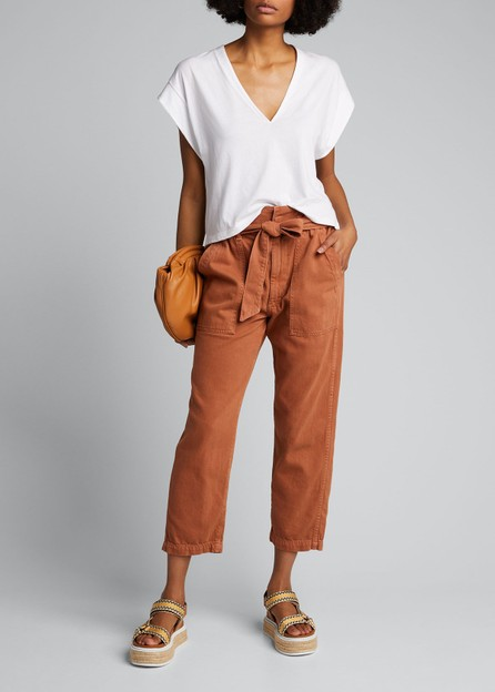 AMO Straight-Leg Belted Paperbag Pants