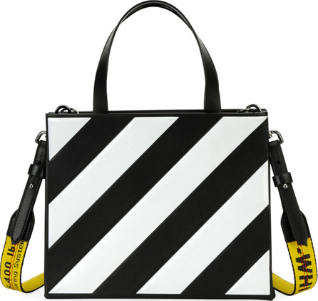 Off White Small Diagonal-Stripe Box Tote Bag