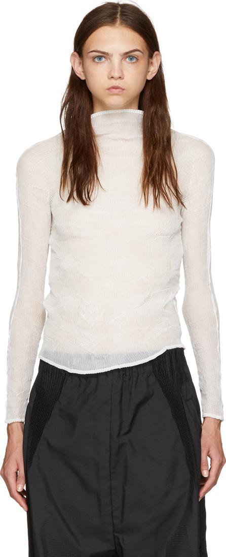 Issey Miyake White Chiffon Twist Long Sleeve Pleated Blouse