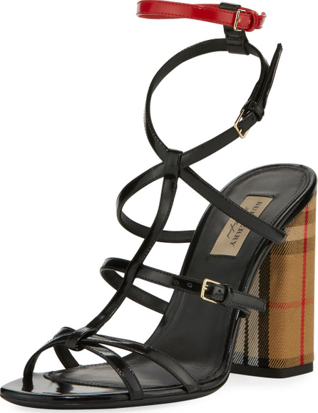 Burberry London England Anthea Patent Caged Check-Heel Sandal