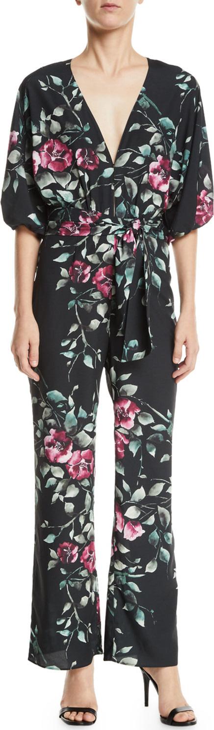 Saylor Griffin Floral-Print Crepe Wrap Jumpsuit
