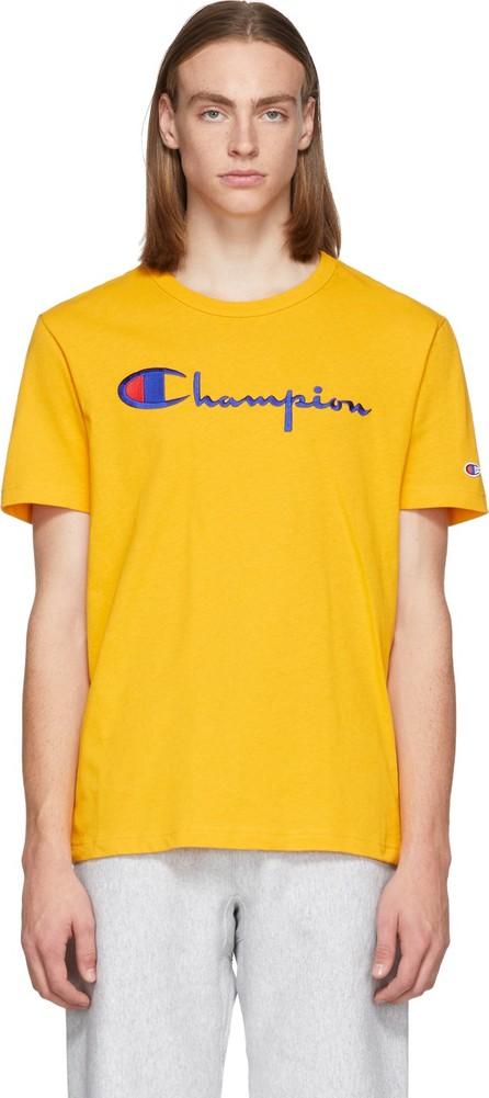 Champion Reverse Weave Yellow Script Logo T-Shirt