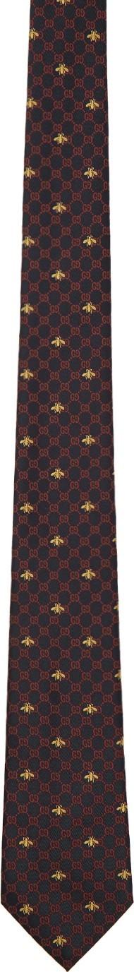 Gucci Navy Silk GG Bees Tie