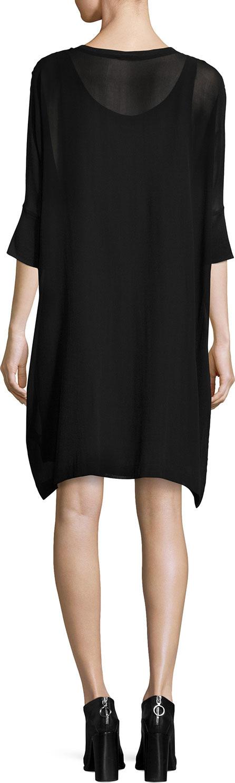 Eileen Fisher Silk Georgette Round-Neck Shift Dress