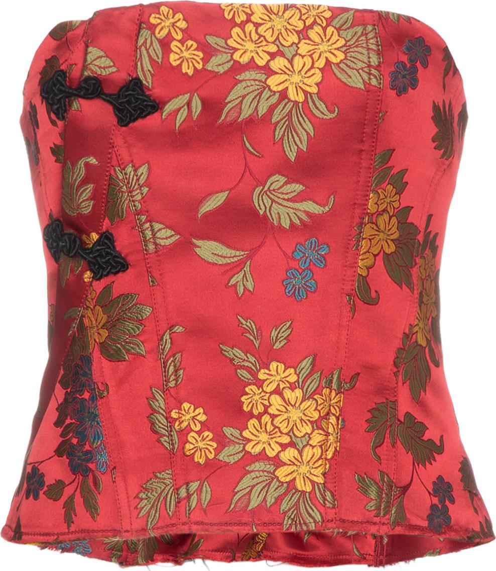 Marques'Almeida - Floral brocade corset top