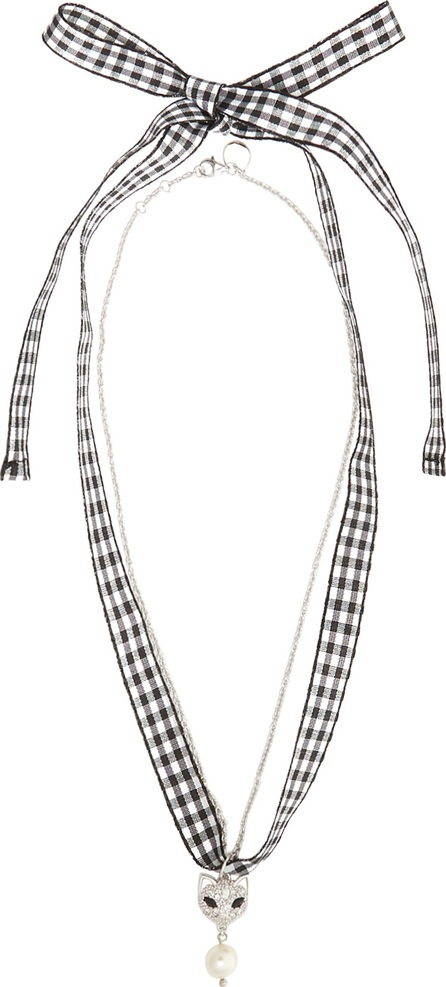 Miu Miu Crystal-cat gingham necklace