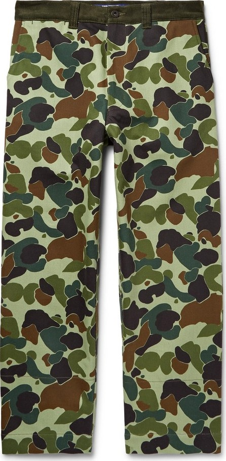 Junya Watanabe Cropped Corduroy-Trimmed Camouflage-Print Cotton-Twill Trousers