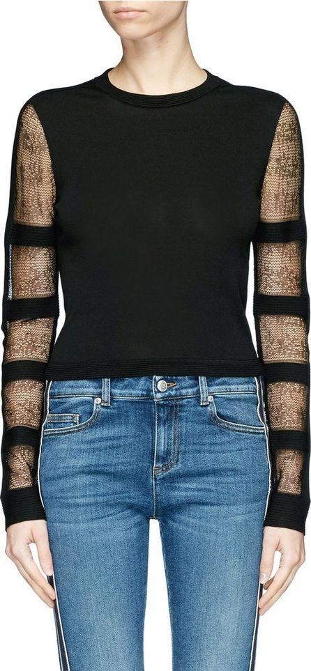 Alexander McQueen Guipure lace panel jersey top