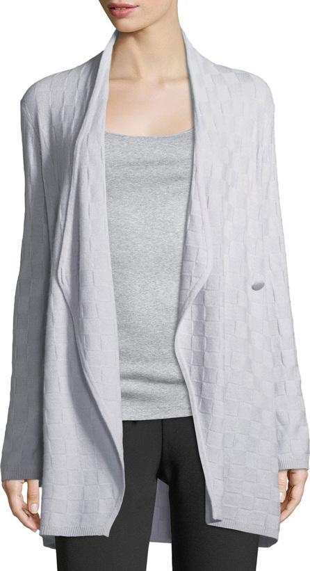Armani Collezioni Check Cashmere Draped Cardigan