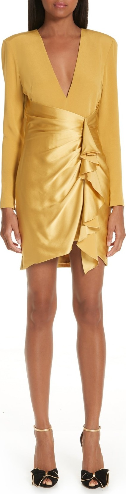 Haney Lilly Mix Long Sleeve Silk Minidress