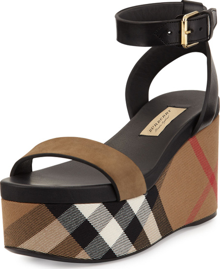 Burberry London England Nuneaton Check Wedge Sandal, Dark Heather Melange