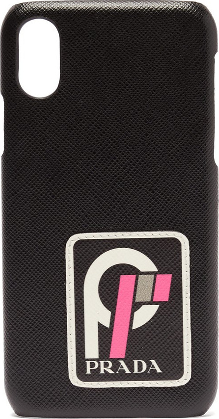Prada Logo-appliqué leather iPhone X case