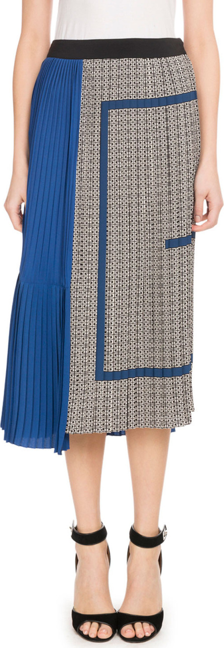 Givenchy Mid-Calf Silk Crepe de Chine Logo-Print Plisse Skirt