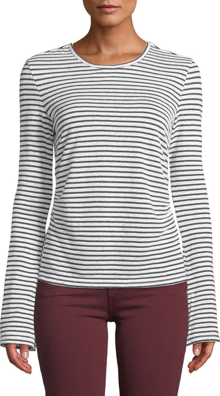 FRAME DENIM Striped Bell-Sleeve Linen Tee