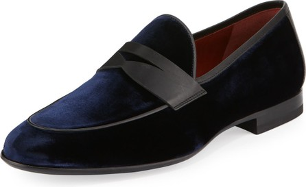 MAGNANNI Velvet Formal Penny Loafer, Navy