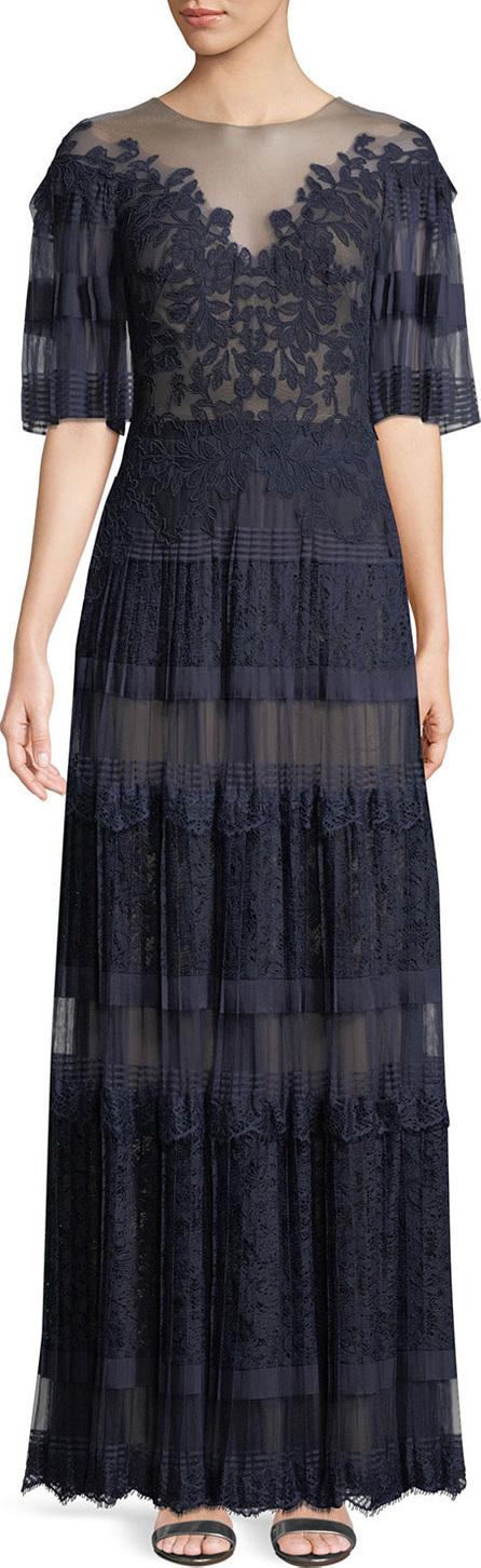 Tadashi Shoji Nevaeh Pleated Tulle & Lace Gown