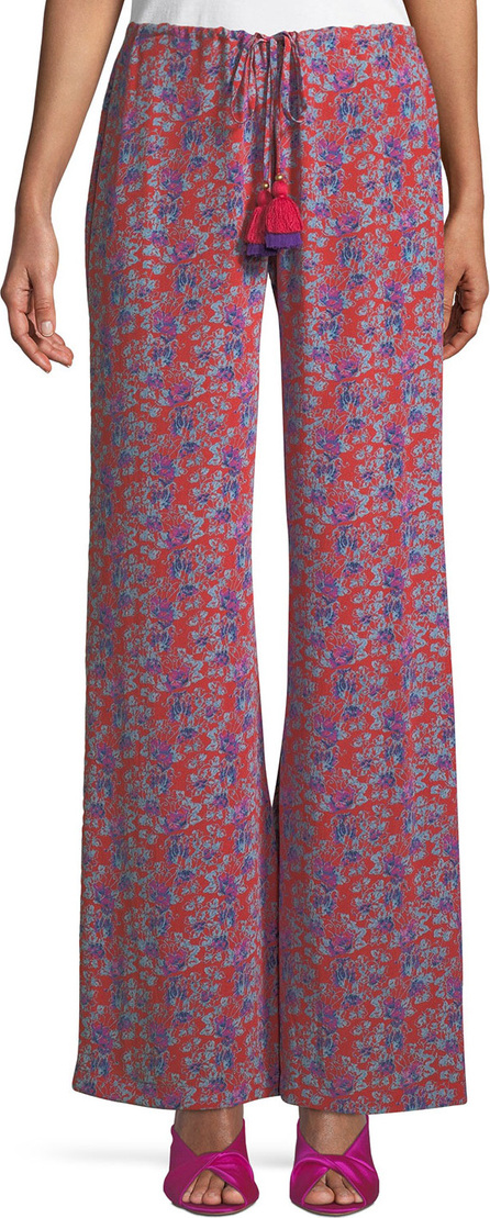 FIGUE Ipanema Fridas Wallpaper Floral-Print Wide-Leg Silk Pants