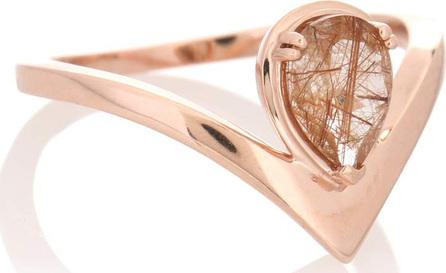 Anna Sheffield Celestine Orbit 14kt rose gold ring with quartz