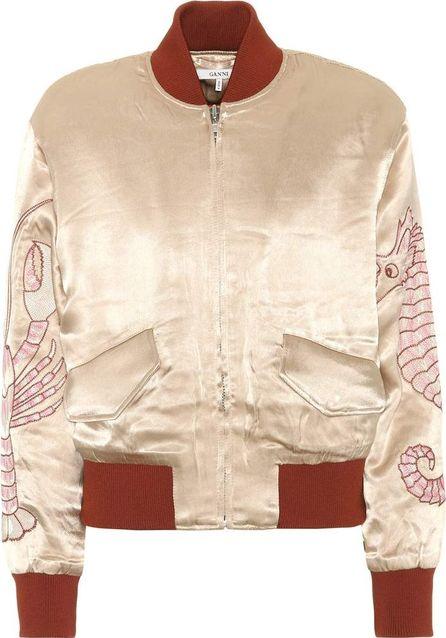 Ganni Embroidered satin bomber jacket