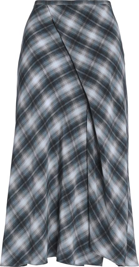 Vince Wrap-effect checked silk crepe de chine midi skirt