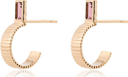 Retrouvai 14k gold and tourmaline half hoop earrings