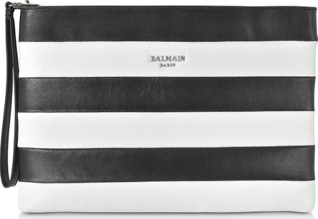 Balmain Mariniere Stripe Leather Clutch