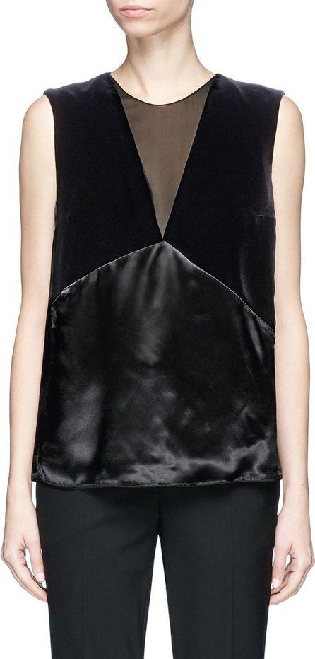 Lanvin Velvet and satin patchwork sleeveless top