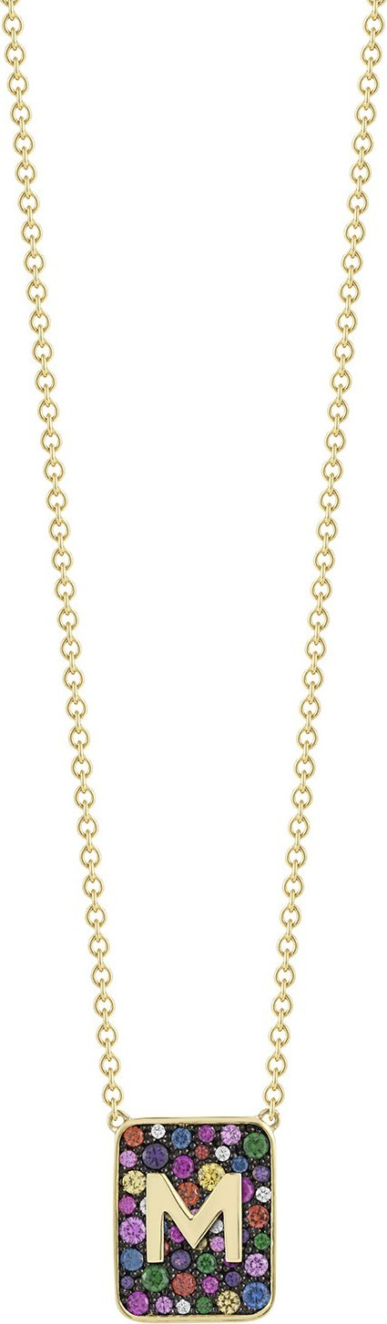Jemma Wynne Personalized Mixed Stone & Diamond Tablet Necklace in 18K Gold