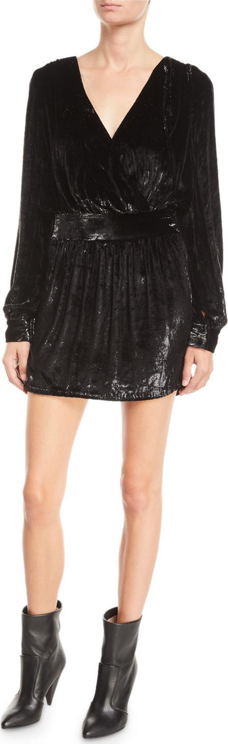 FRAME DENIM Metallic Velvet Long-Sleeve Short Cocktail Dress