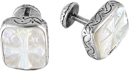 Konstantino Color Classics Sterling Silver & Mother-of-Pearl Cross Cuff Links