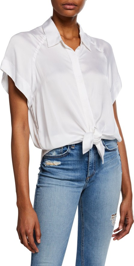 7 For All Mankind Tie Front Button Flutter Sleeve Shirt