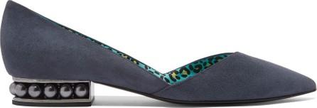 Nicholas Kirkwood Casati faux pearl-embellished suede point-toe flats