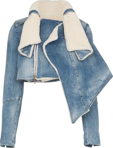 Ben Taverniti Unravel Project Shearling trimmed deconstructed denim jacket