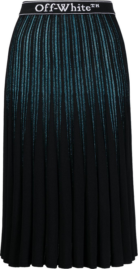 Off White Glitter-stripe pleated skirt