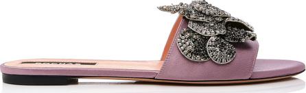 ROCHAS Floral-Embellished Leather Slides
