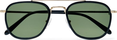 Moscot Macher Round-Frame Acetate and Gold-Tone Sunglasses