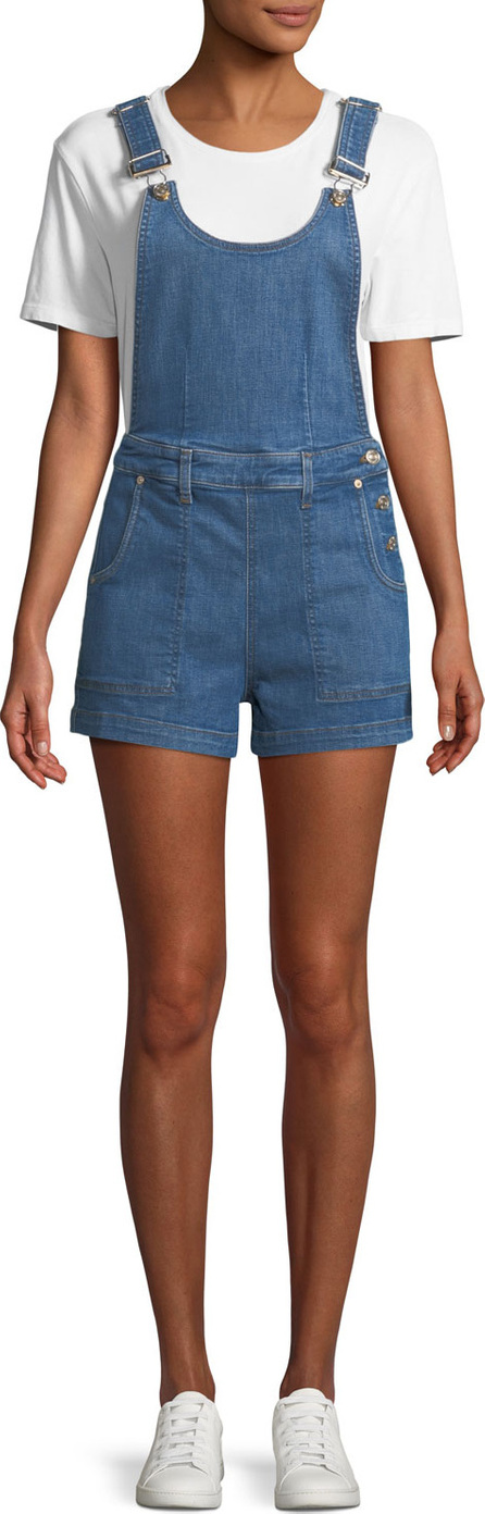 7 For All Mankind Side-Button Denim Shortalls