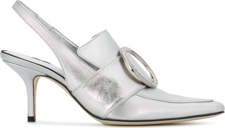 Pointed buckled mules