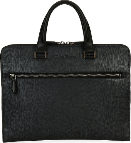 Salvatore Ferragamo Men's Revival Slim Leather Briefcase, Gray