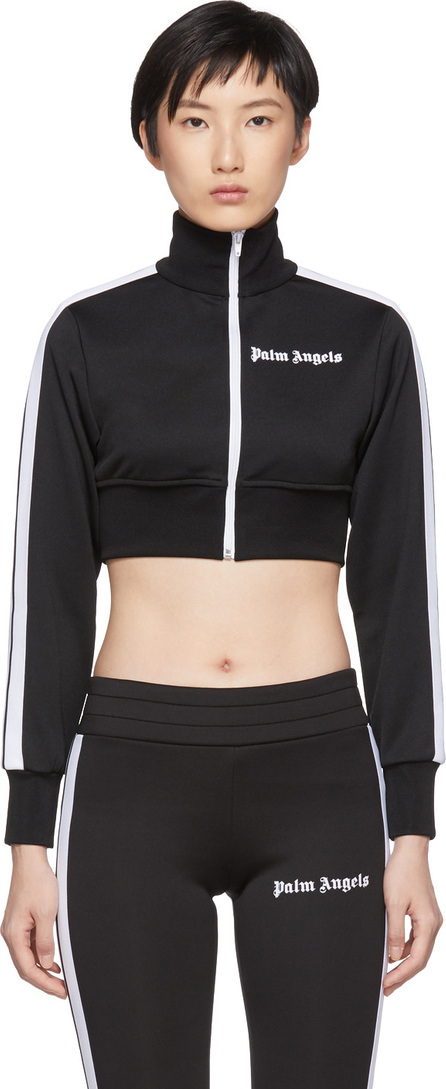 Palm Angels Black & White Cropped Track Jacket