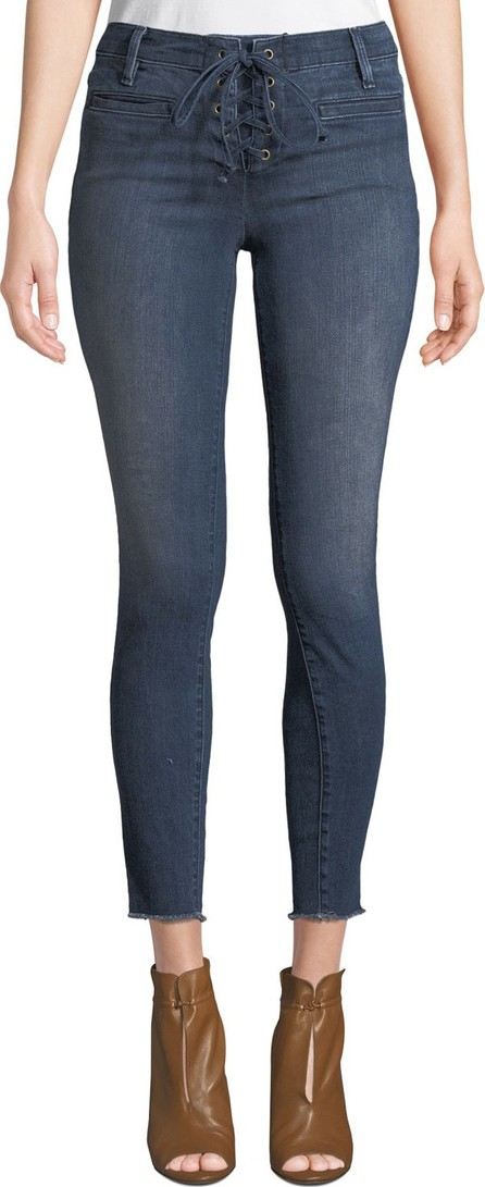 Etienne Marcel Lace-Up Skinny Jeans with Frayed Hem