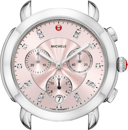 MICHELE Sidney Stainless Steel Watch Head with Diamonds, Silver/Pink